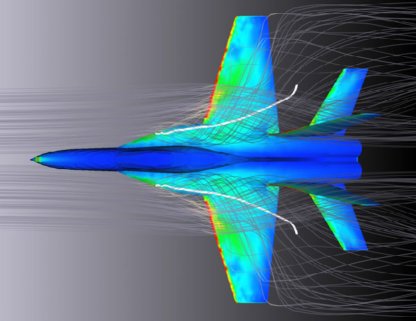 Aerodynamic Analysis of Airplanes (image from ANSYS® Fluid Dynamics Analysis)